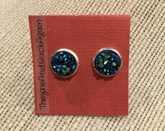 8mm Metallic Blue Faux Druzy Stud Earrings
