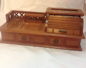 Vintage Men's Jewelry Box Butler Box Dresser Box Vintage Wood Box Men's Valet Box