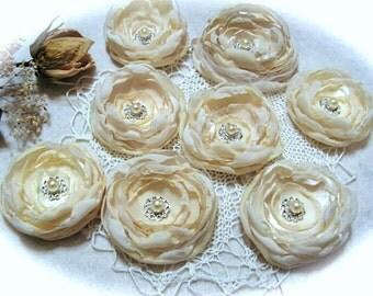Wedding Flowers  Ivory  Flower, Centerpiece, Cream Flowers  - for wedding decorations, - set of 8.