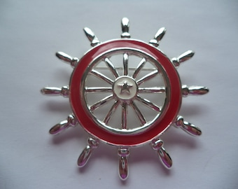 Vintage Signed Danecraft Silvertone/Red Ships Wheel Brooch/Pin