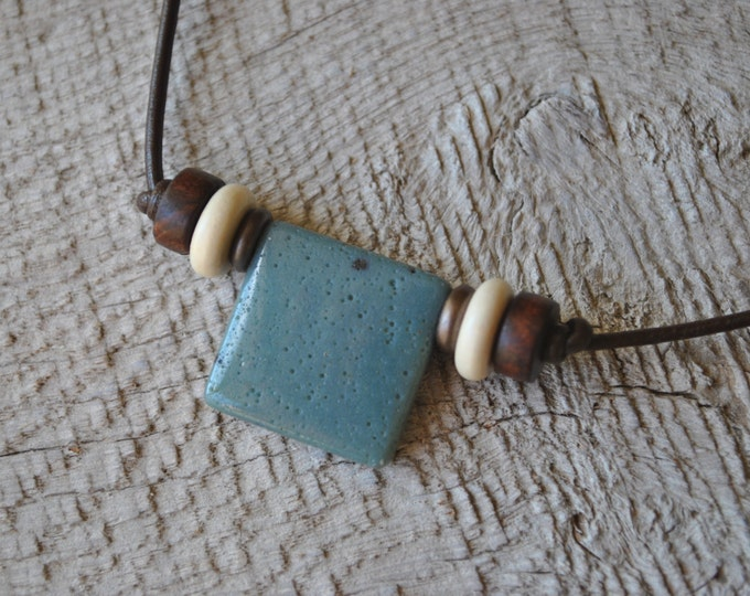 Leland Blue Stone necklace with brown and white beads on brown leather cord , minimalist, Michigan necklace, unisex