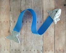 Shark Ribbon Bookmark, Embroidered Felt Shark Head and Tail with Blue Grosgrain Ribbon, Gift for Book Lover, Teacher Gift, Quick Ship