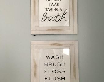 Bathroom Typography Print Set- Instant Download