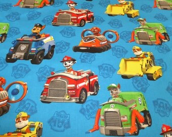 """Paw Patrol vehicles on Blue Curtain Valance 42"""" x 15"""" in 100% Cotton - Handmade New."""