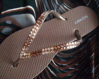 Bronze Flip Flops With Topaz Crystals
