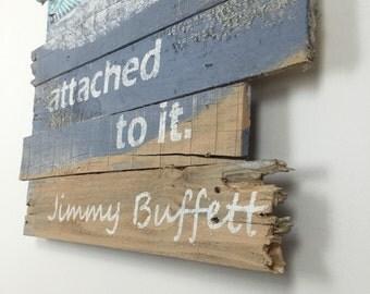 "Beach Decor Jimmy Buffett Quote with Beach and Hammock Nautical Wall Hanging  24"" x 43"""