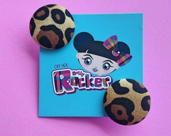 Retro, Leopard Print Button Earrings, Vintage, Punk, Alternative, 60s, Mod, Kitsch, Pinup, Studs, WHO'S Off Her Dolly Rocker