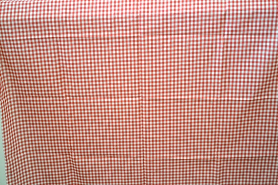 1950 S Vintage Red White Big Gingham Cotton Fabric Light