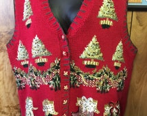 Plus Size Vintage Tacky/Ugly Christmas Vest By Tiara Women Knit Button Center Red Background Trees & Stockings Theme- Ugly Christmas Vest
