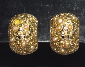 Christian Dior Clip On Earrings - Gold Tone with Stones - S1936