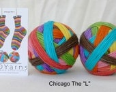 """CHICAGO THE """"L""""  – hand-dyed self-striping sock yarn, fingering weight"""