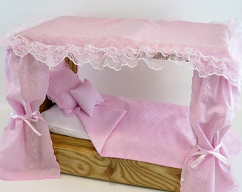 """American Girl Doll Furniture / 18"""" Doll Furniture / Canopy Bed includes Bedding"""