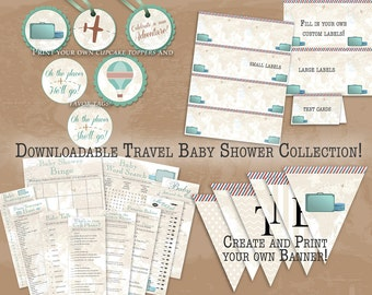 Vintage Travel Instant Download Baby Shower Collection with Games, Labels, Cupcake Toppers & Banner