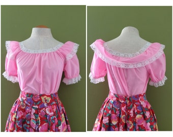1970's Pink Frilly Baby Doll Peasant Blouse / Ruffles + Lace + Love / Medium