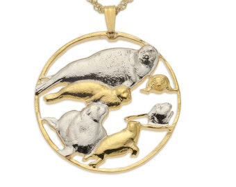 """Mother and Baby Seals Pendant and Necklace, Hand Cut Sealife Medallion, 14 Karat Gold and Rhodium Plated,1 1/8"""" in Diameter, ( # 841 )"""