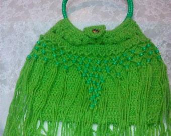 Crocheted, Beaded Fringe Purse
