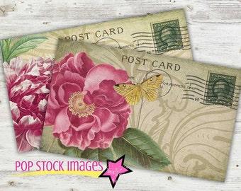 Digital Collage Sheet Printable POSTCARD - Rose and Peony Postcards - Postcard Collage Sheet - ROSES - French Ephemera - PDF Postcards