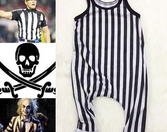 Black White Baby Romper - Pant Romper - Stripe Romper - Baby Romper - Harem Romper - Toddler Romper - Stripe Romper - Boy Romper - Halloween