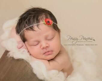 Poppy Tieback, Red Tieback, Newborn Tieback, Photo Prop, Flower Tieback, Hair Accessory, Baby Headband, Tieback, Newborn Headband, Red