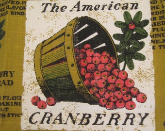 Vintage Linen Tea Towel Cape Cod Souvenir The American Cranberry by Kaydee Cranberry Recipes Craft Fabric Material UNUSED