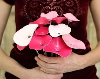 Pink Painted Ceramic Flowers/Patio Decoration/Garden Flower Stem/Artificial Flowers/Cheerful Garden Decor/Outdoor Lawn Flower/Bridal Bouquet