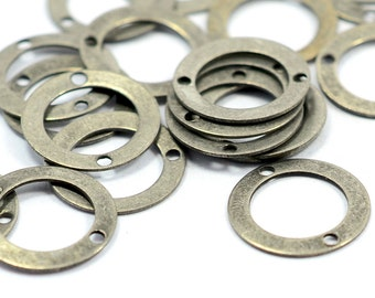 100 Pcs. Antique Silver 13 mm Round Circle 2 Hole Findings