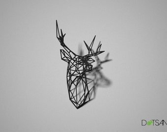 Wire Faceted, 3D printed Black Stag Deer Trophy Head Medium Facing Left