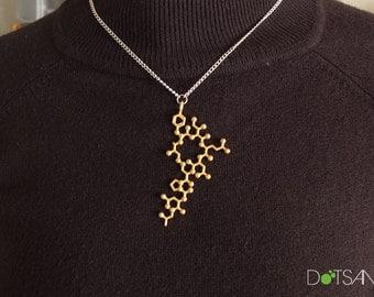 Oxytocin 3Dprint Gold Pendant Cuddle Chemical