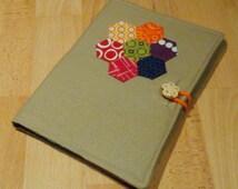 A5 Hexagon Flower Pattern, Handmade Linen Notebook Cover with Lined Notebook/Notebook Cover/Stationery/Journal/Diary