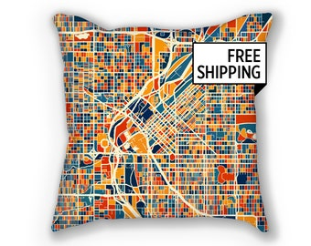Denver Map Pillow - Colorado Map Pillow 18x18