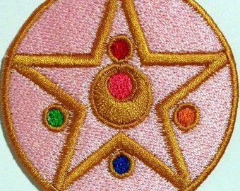 """Sailor Moon Inspiered Transformation Compact Locket 2.25"""" Patch With Fully Over Lock Wrapped Edges Sew / Iron On or Velcro Backed Sailormoon"""