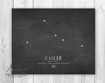 CANCER, Zodiac Constellation Print, Chalkboard Art, Astrology Print, Wall Art Poster Print - Home Decor