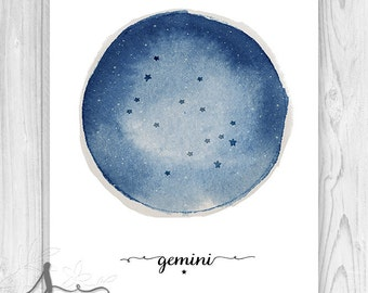 Gemini Art Print, Gemini Constellation, Zodiac Constellation Print, Star Chart, Astrology Print - Typography Art Print