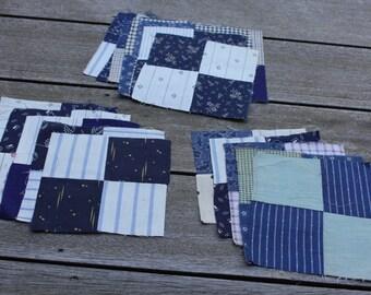 Vintage Indigo 4-Patch Quilt Squares