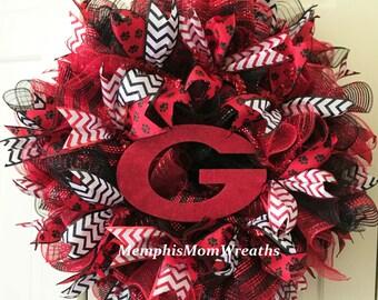 University of Georgia Deco Mesh Wreath - Deco Mesh Wreath - College Football Wreath - UGA Wreath