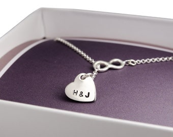 Infinity, 925 Silver necklace with engraving, heart