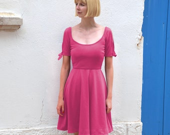 Nanette Open Sleeve Wide Scoop Neck Summer Dress. Deep Scoop Back Skater Dress with Tie Sleeve Detail in Fuchsia Pink