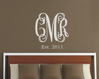 Initial Wall Decal Etsy - Monogram initials wall decals