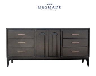 1332-01489 Black Matte Mid Century Modern Buffet