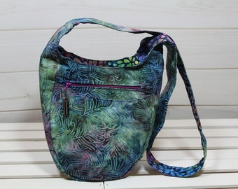 Hobo Bag, Cross Body Hobo Bag, Hobo Bag Purse, Rainbow Flowers Scrolling Leaves Boho Batik India Hobo Bag