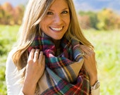 Valentine's Day gifts Blanket Scarf Plaid Blanket Scarf Red Tartan Wrap, Gift for Her,  Women Scarves Winter // Ready to Ship!