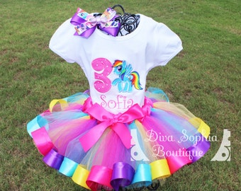 Rainbow My Little Pony Tutu Set  - Rainbow Dash Ribbon Tutu Set -  Birthday Tutu