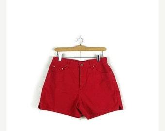 SUMMER SALE Vintage Red Denim Shorts from 90's*