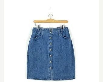 SUMMER SALE Vintage Button down Denim  Mini Skirt from 90's*