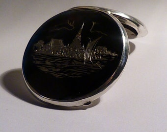 Gifts for her / girlfriends / wives sterling silver Siam niello compact mirror The Floating Pagoda / Phra Samut Chedi / Dancing Angel