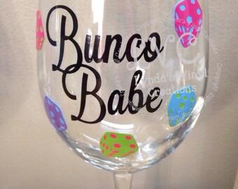 Bunco Babe Wine Glass