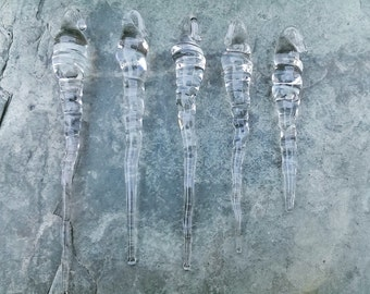 5  Lg. *Natural* Clear Glass Icicles, Handmade Lampwork