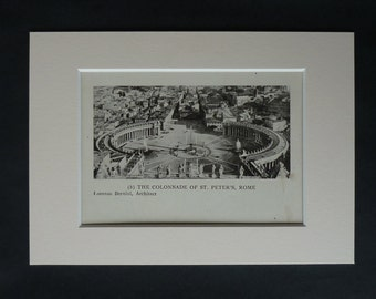 1920s Antique Italian Architecture Print of St Peter's Square, Available Framed, Rome Art, Piazza San Pietro Gift, Vatican City Travel Decor