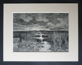 1880s Antique Keeley Halswelle Print of a Fenland Landscape, Available Framed, Fen Art, Fens Gift East England Marsh Picture Marshland Decor