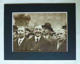 1930s Antique Print of Arthur Henderson, Old Labour Party Decor, Available Framed, Politics Art, British Political Gift, Sepia Picture